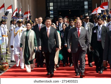 ISLAMABAD, PAKISTAN - APR 21: Prime Minister, Muhammad Nawaz Sharif with Chinese President Xi Jinping on his departure from Nur Khan Air Base on  April 21, 2015 in Islamabad.