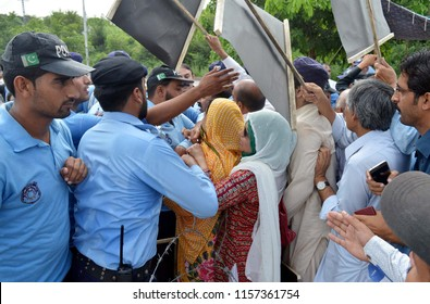 ISLAMABAD, PAKISTAN - AUG 15: Activists of PML-N are holding protest for releasing of Former Prime Minister, and Maryam Nawaz, on the occasion of their case hearing on August 15, 2018 in Islamabad.