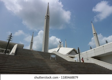 ISLAMABAD, PAKISTAN - AUGUST 15: Shah Faisal Mosque facade on April 20, 2015 in Islamabad, Pakistan, the largest mosque in Pakistan and South Asia and one of the largest mosques in the world