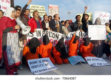 ISLAMABAD, PAKISTAN - FEB 06: Leaders and supporters of Defence of Human Rights (DHR) chant slogans for recovery of missing persons during protest demonstration on February 09, 2011in Islamabad.