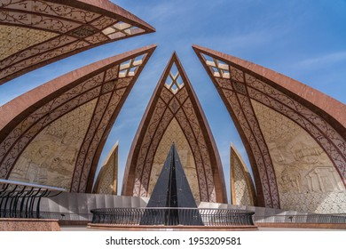 Islamabad, Pakistan, March 2021,  The Pakistan Monument, a national monument and heritage museum in Islamabad, symbolizing the unity of Pakistan people. It's reflecting history of Pakistan.