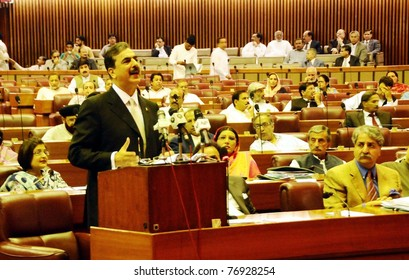 ISLAMABAD, PAKISTAN - MAY 09: Prime Minister, Syed Yousuf Raza Gilani, addresses the National Assembly Session about Abbottabad incident held at Parliament House on May 09, 2011 in Islamabad.