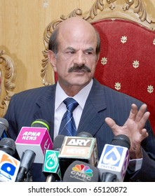ISLAMABAD, PAKISTAN - NOV 13: MNA, Iqbal M.Ali Khan, addresses press conference at press club on November 13, 2010 in Islamabad.