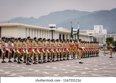 Islamabad / Pakistan - November 3rd 2015: Guard of Honor Battalion of the Pakistan Army, during the official ceremony at the Aiwan-e-Sadr Presidential Palace of the President of Pakistan.