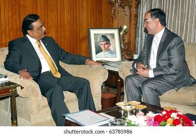 ISLAMABAD, PAKISTAN - OCT 22: President, Asif Ali Zardari, in meeting with Iran  Ambassador, Mashallah Shakeri, at Aiwan-e- Sadr on October 22, 2010 in Islamabad.