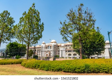 Islamabad Pakistan Secretariat Picturesque Breathtaking View at Constitution Avenue on a Sunny Blue Sky Day
