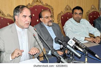 ISLAMABAD, PAKISTAN-SEPT 29: Iran Ambassador, Mashallah Shakeri addresses press conference at Islamabad press club on Wednesday, September 29, 2010. (Adil Gill/PPI Images).