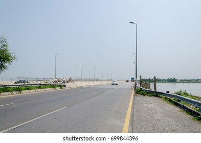 Islamabad - Peshawar Motorway near Kabul River which is one of the biggest rivers flowing in KPK Province of Pakistan near Peshawar City on 24th July 2017