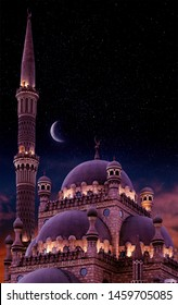 Islamic background with The Al Sahaba Mosque in Sharm El Sheikh against ramadan starry night t sky and crescent moon. Fragment