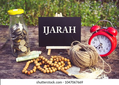 Islamic banking or financing concept arrangement word illustration concept. Ijarah is translate to leasing agreement in English