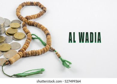 Islamic banking or financing concept  arrangement word illustration concept.  Al Wadia is translate to Resale of goods with a discount on the original stated cost in English.