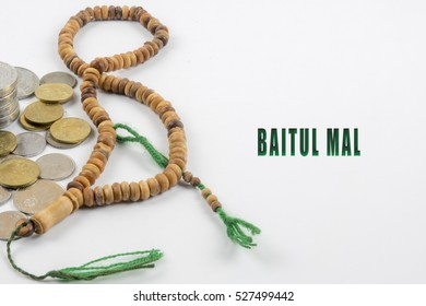 Islamic banking or financing concept  arrangement word illustration concept.  Baitul Mal is translate to Treasury in English.