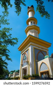 Islamic Center NTB - mosque in the city of Mataram. Indonesia. Lombok Island. Aerial photography.