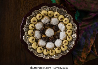 Islamic Feast,Cookies for celebration of El Fitr (Kahk- Ghorayeba- betty four), Top view - Image