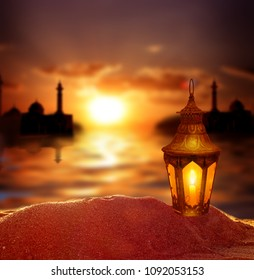 Islamic Greeting Cards for Muslim Holidays. Ramadan Kareem background.