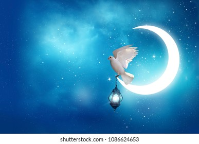 Islamic greeting  Eid Mubarak cards for Muslim Holidays.Eid-Ul-Adha festival celebration . Ramadan Kareem background. Moon and Lantern Lightning in sky.Crescent and Dove
