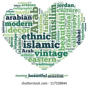 Islamic info-text graphics and arrangement concept on white background (word cloud)