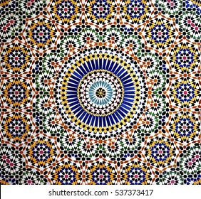 Islamic mosaic, Kasbah Telouet, Morocco: the colorful geometric patterns of an Islamic mosaic decorate the walls the Kasbah Telouet, a crumbling palace in the Atlas Mountains of Morocco.