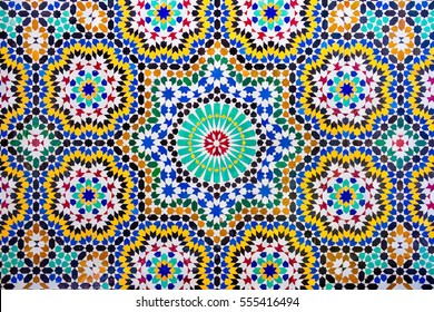 Islamic pattern of a mosaic in Moroccan style. Tiled oriental ornaments from Morocco are found in mosques and important buildings