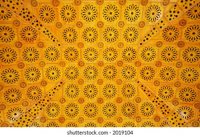 An Islamic pattern used on a ceiling of a mosque, 2006.