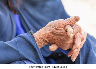 Islamic Republic of Iran. Fars Province, Fathabad Rural District, Central District of Qir and Karzin County, near Reykan village. Hands of an elder.