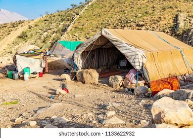 Islamic Republic of Iran. . Fars Province, Rudbal. Rural, Qashqai nomad encampment. Tent.