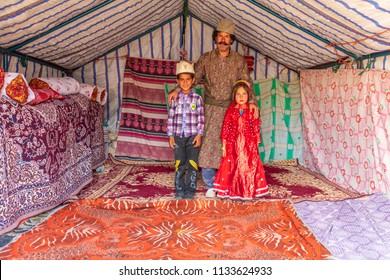 Islamic Republic of Iran.  Fars Province, Rudbal. A small settlement, community of Qashqai nomads. Family.  March 10, 2018