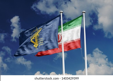 Islamic Republic of Iran Flag and Islamic Revolutionary Guard Corps Flag waving on blue sky