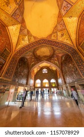 """Islamic Republic of Iran. Isfahan. Chehel Sotoun (also Chihil Sutun,Chehel Sotoon,""""Forty Columns"""") a pavilion in park at end of a pool. Built by Shah Abbas II as place for receptions. 06 March 2018"""