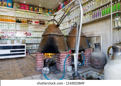 Islamic Republic of Iran. Isfahan, Kashan. March 4, 2018. Distillery of Rose water and retail store. Traditional oven and distilling methods of distilling Roses for cooking, drinking, and perfume