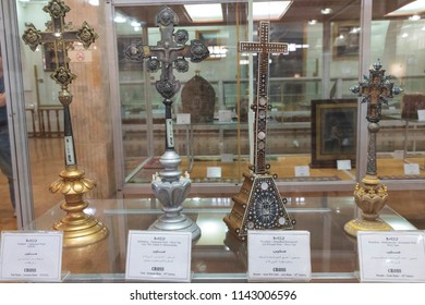 Islamic Republic of Iran. Isfahan, New Julfa. March 5, 2018. Museum of Khachatur Kesaratsi. Inside displays of Museum. Armenian Artifacts. Early crosses.