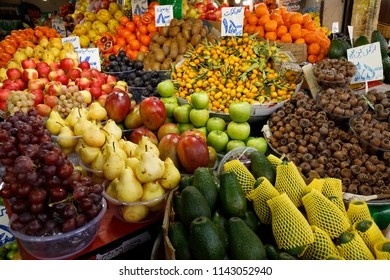 Islamic Republic of Iran. March 3, 2018. Tehran Bazaar. Edibles for sale. Fruits and vegetables.