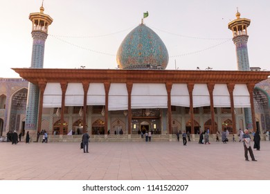 Islamic Republic of Iran. Shiraz. April 8, 2018. Shah Cheragh, Holy Shrine and Pilgrimage spot. Funerary monument and mosque complex. Tombs of brothers persecuted for being Shia Muslims.