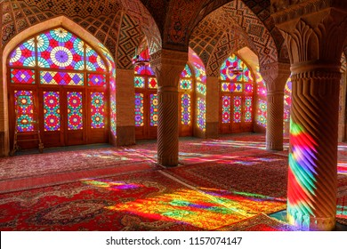 Islamic Republic of Iran. Shiraz. Nasir al-Mulk Mosque, the Pink Mosque located in Gawd-i Araban quarter, near Shah Cheragh Mosque. It has  colored glass known as the Panj Kase. 09 March 2018