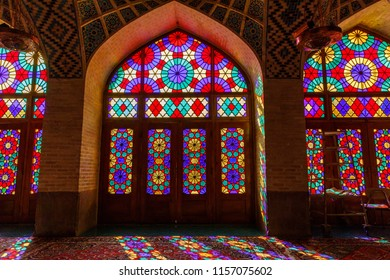 Islamic Republic of Iran. Shiraz. Nasir al-Mulk Mosque, the Pink Mosque located in Gawd-i Araban quarter, near Shah Cheragh Mosque. It has  colored glass known as the Panj Kase. 08 March 2018