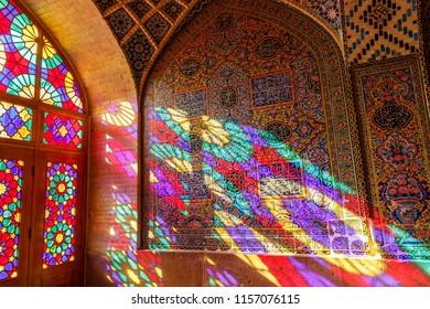 Islamic Republic of Iran. Shiraz. Nasir al-Mulk Mosque, the Pink Mosque located in Gawd-i Araban quarter, near Shah Cheragh Mosque. 08 March 2018