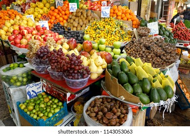 Islamic Republic of Iran. Tehran Bazaar. March 3, 2018. Household items or edibles for sale. Fruits and vegetables.