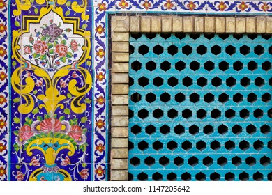 Islamic Republic of Iran. Tehran. Golestan Palace, UNESCO World Heritage Site. Tile work on exterior group of royal buildings.