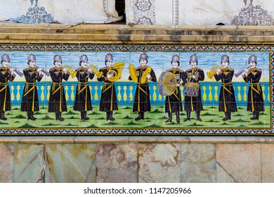 Islamic Republic of Iran. Tehran. Golestan Palace, UNESCO World Heritage Site. Tile work on exterior group of royal buildings.