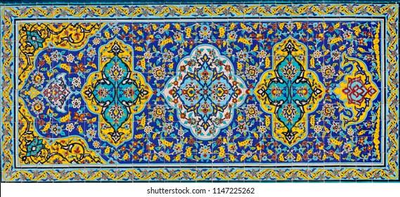 Islamic Republic of Iran. Tehran. Golestan Palace. Persian mosaic tile work.