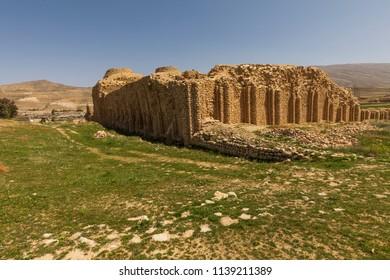 Islamic Republic of Iran.Fars Province. Murdestan.Atashkadeh. Near ancient city of Gor. The Palace of Ardashir Papakan (Atash-kadeh). Ruins of castle built in AD 224.