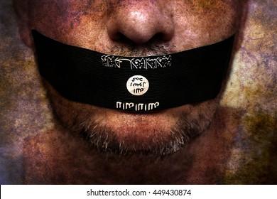 Islamic state censorship grunge concept