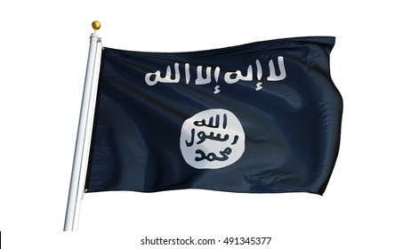 Islamic State of Iraq and the Levant flag waving on white background, close up, isolated with clipping path mask alpha channel transparency
