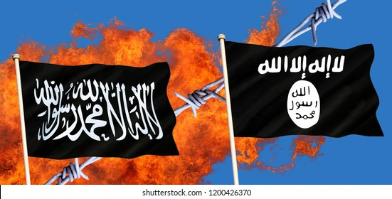Islamic State (ISIS or ISIL, Daesh) - an unrecognized state and a Sunni jihadist group active in Iraq and Syria. Al-Qaeda is a global militant Islamist organization founded by Osama bin Laden.