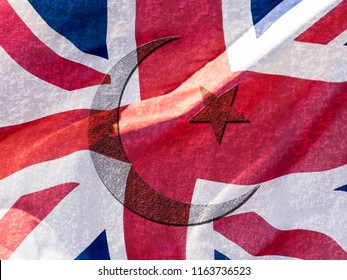 Islamic Symbol blended with Union Jack Flag Double Exposure, Abstract Graphic Design, Concept for Changing Religion and Culture in Great Britain