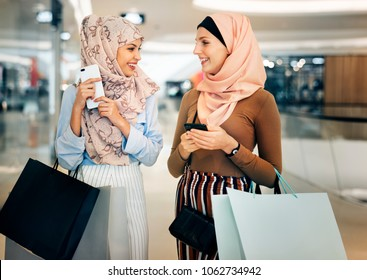 Islamic women shopping together