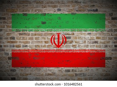 Islamic_Republic_of_Iran flag painted on biege_sand_brick_wall texture background