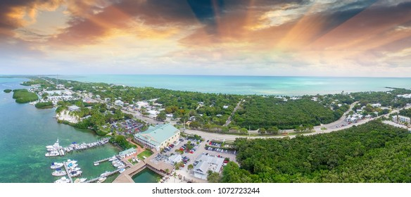 Islamorada coastline at sunset, Aerial view of Florida.