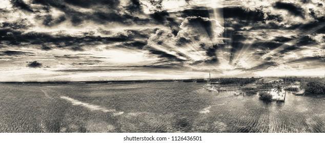 Islamorada coastline at sunset, Aerial view of Florida.