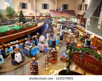 Islamorada, Florida, U.S.A - January 3, 2020 - The view inside of Bass Pro Shops and World Wide Sportsman store